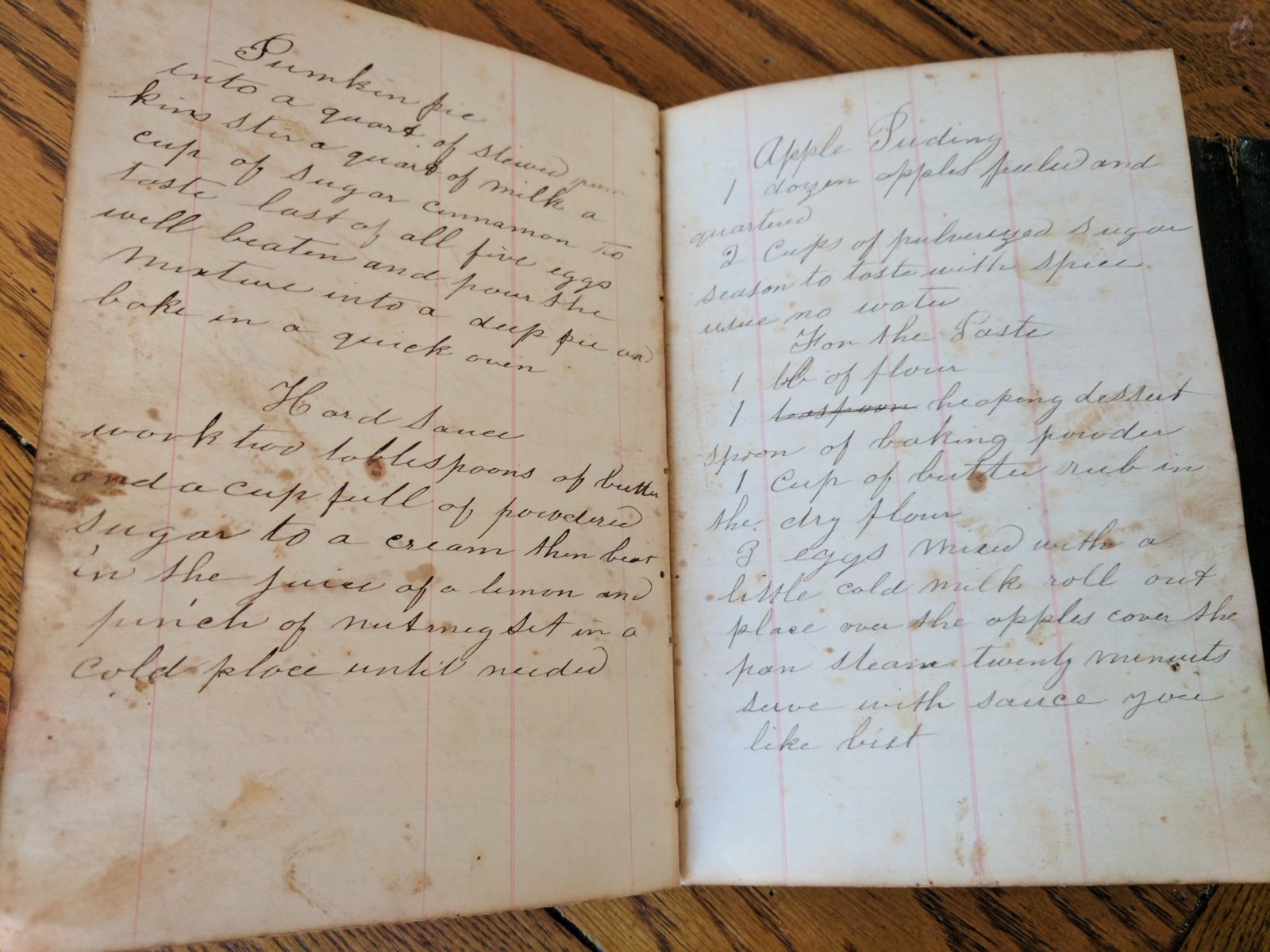Reynolds Ledger, recipes